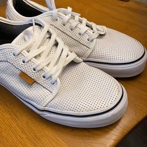 Vans White Leather Perforated Lace up Shoes